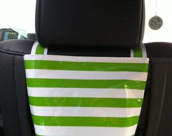 Beth's Oilcloth Stripes Headrest Car Trash Bag Receptacle