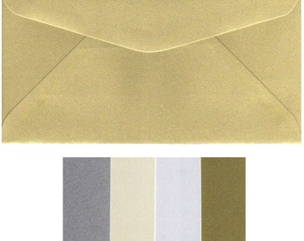 DL Metallic Envelopes x 20 Pieces 220mm x 110mm  8.5 x 4.2 inches Gold Silver White Ivory Wedding Invitations 120gsm