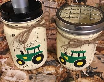 John Deere/green tractor Mason jar soap dispenser and toothbrush holder