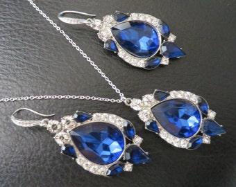 Something Blue Bridal SET chandelier Blue Wedding Earrings Crystal Bridal Earrings Swarovski Crystal Earrings Bridal Jewelry Rhinestone Earr
