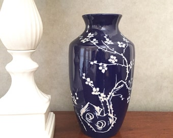 Asian Blue Intaglio Vase Cobalt Blue and White 12.5 Inch Vase Chinoiserie Asian Blue White Decor Chinoiserie Vase Vintage Asian Vases