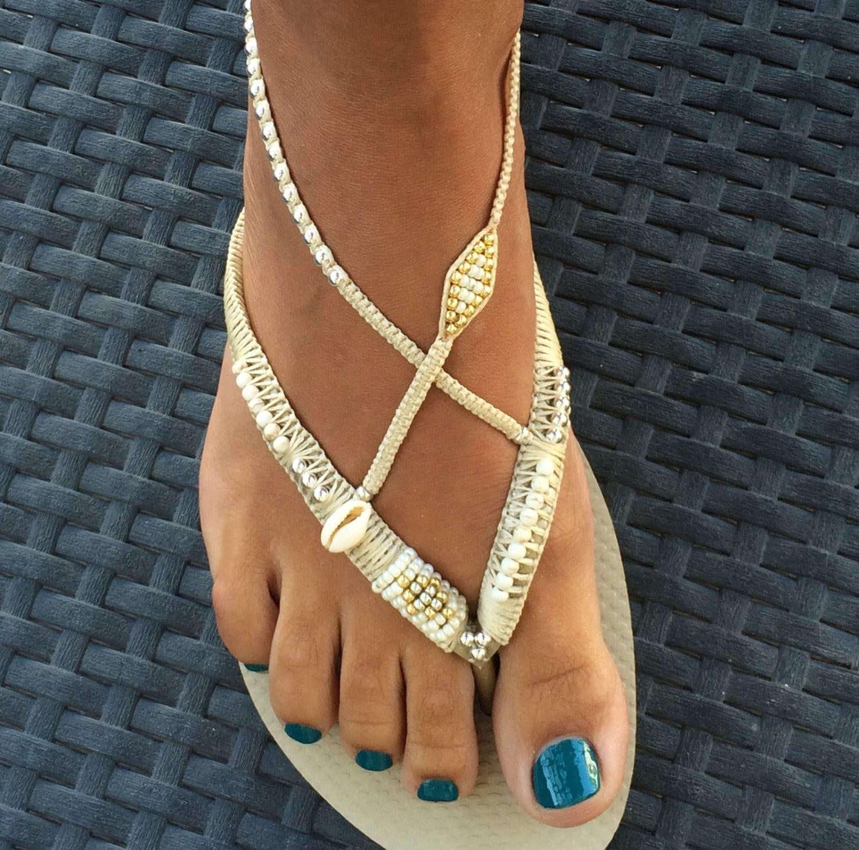 Silver Gold Flip Flop Foot Jewelry Gold Flats Boho