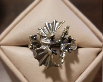 Vintage Sterling Silver Dragon Ring Size 7 3/4
