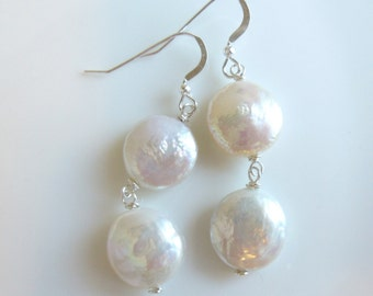 Freshwater Coin Pearl Earrings White Ivory Disk Button Pearl Bronze, Sterling Silver 14K Gold Filled Dangles Matching Ring