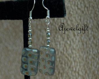 Gray Polka Dotted Czech Glass Earrings 18006