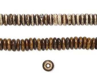 Brown Bone Beads, rondelle beads, 5x2mm, 78 beads, D457
