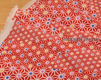 Japanese Kimono Crepe Fabric Vintage Tortoiseshell On Red Navy Blue - 1/2 Yard
