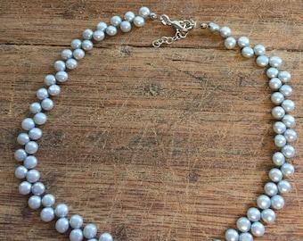 Soft gray button pearl choker