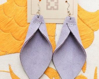 Suede Leather Earrings /// Handmade Light Purple Dangle Earrings // Upcycled Pastel Petal Shape Large Boho Festival Accessory