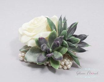 Succulent & Rose Wrist Corsage. Wedding Flower- Prom Corsage- Real Touch Corsage- Wrist Corsage. natural white, green, purple, fuzzy