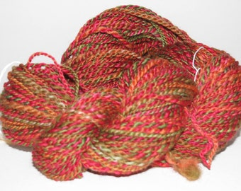 Hand spun yarn BFL 2ply worsted weight 150+ yards Cottage garden