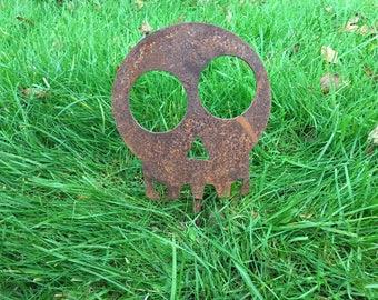 Skull Rusty / Patina, Mild Steel Metal Garden / Yard / Pond Art, Ornaments