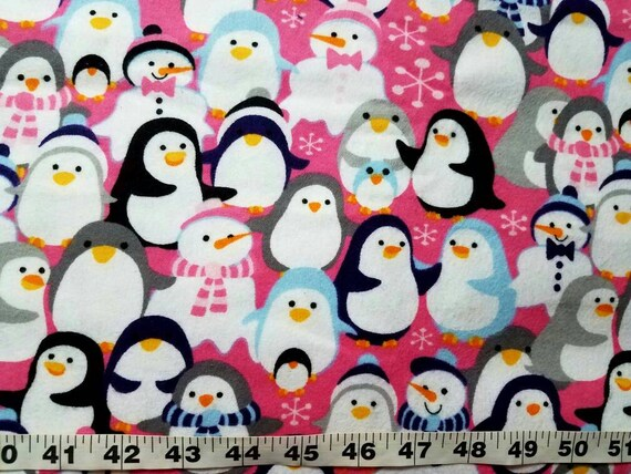 winter flannel fabric with penguins snowman cotton print quilt sewing material craft bty by the yard christmas flannel penguin fabricowmen from