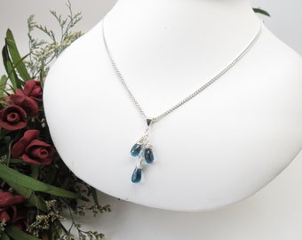 London Blue Topaz Necklace, December Birthstone, Set Of Three Blue Topaz Pendant Necklace, Birthstone Necklace In Sterling, 16-19 Inches