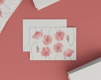 Botanical card with aquarelle illustration | Papaver I. | Postcard | Botanical Card | Watercolour | Stationery