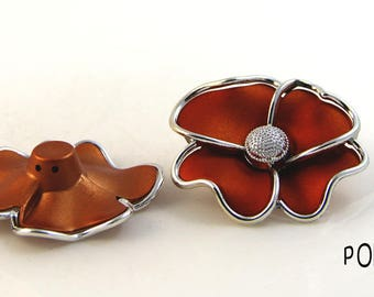 Flower orange support acrylic poppy necklace custom couture Hat pin