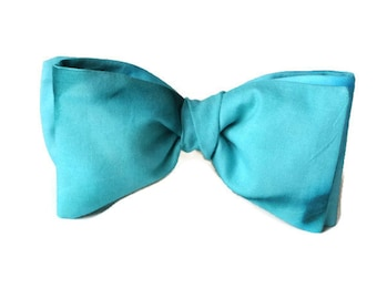 Aqua Bow Tie , Mens Blue Marbled Bowtie , Pre-tied Clip-On ,  Gift for Him