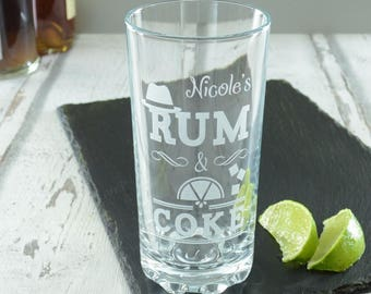 Rum And Coke Personalised Engraved Highball Glass