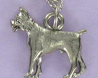 BOXER DOG Necklace - Pewter Charm on a FREE Plated Chain