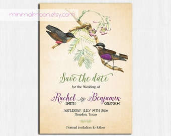 Vintage Save the date, Birds save the date, vintage Invitation, tan save the date, rustic save the date, vintage birds invitations, paper