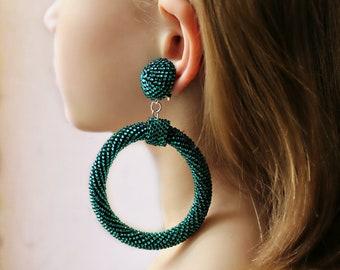 Snake Hoop Earrings Oscar de la renta clip on earrings les bonbons earrings bead ball hoop La La earrings Oscar style renta earrings