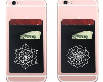 Two Stretchy Mandala Cell Phone Stick On Wallet Card Holder Phone Pocket For iPhone, Android and all smartphones