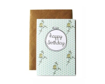Happy Birthday Embroidery Hoop Card