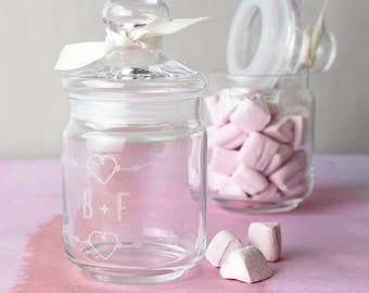 Pot sucré personnalisé - bonbonnière personnalisé - personnalisé bocal en verre - personnalisé bonbons - guimauves bocal en verre - pot personnalisé