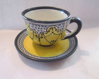 french country pottery cup and saucer blue / yellow lovely
