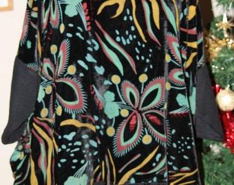 Silk devore velvet lagenlook over-sized drape top one size from 12-24 black multi