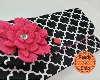 Cash Envelope Wallet with Dividers, Coupon Holder, for use with the Dave Ramsey System -Black Diamonds- READY TO SHIP