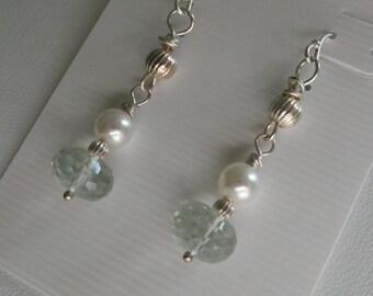 Green Amethyst Earrings with Pearls   -  #335