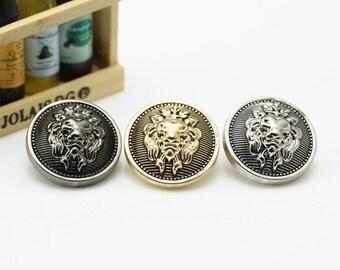 6 Pcs 0.59~0.98 Inches Retro Gold/Silver/Gun Lion Head Crown Metal Shank Buttons For Coats