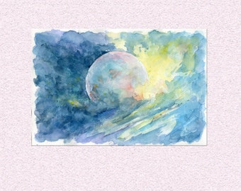Abstract watercolor painting - outer space cosmos art, yellow blue planet view