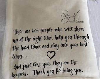 Personalized custom throw blanket for a friend who is always there for you.  A word blanket for someone special.
