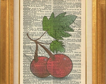 40% OFF SALE Cherries Printed on Vintage Dictionary Page - BUY 2 Get 1 Free - Cherry Dictionary Art Print - Red Cherries Illustration Wall A