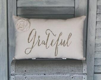 Grateful Decorative Pillow, Grateful, Decor Pillow, Simple Pillow, Rosette burlap pillow fabric pillow home decor 15x10 accent pillow