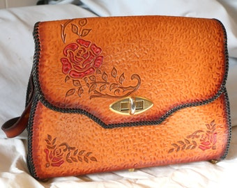 Womens tooled roses leather purse handbag