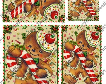 Vintage Retro Gingerbread men man cookies candy cane cream focal Printable Digital Collage Sheet ATC Card Fronts Jewelry clip art Christmas