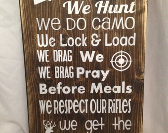 Hunting family etsy in this house hunting sign hunting rustic sign rustic hunting decor rustic wood teraionfo