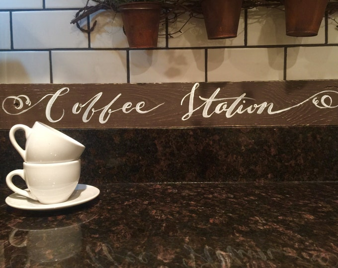 Coffee Station Sign. Rustic Coffee Sign. Coffee Bar. Wedding Reception Decor. Kitchen Wall Decor. Rustic Kitchen Signs. Vintage Kitchen
