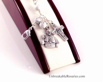 Rosary Bracelet Pope Francis White Magnesite Wire Wrapped Italian Religious Charms by Unbreakable Rosaries