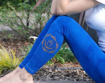 Tall Blue Hand Dyed Yoga Leggings with Optional Hand Painted Chakra Design including Extra Long and Plus Sizes by Splash Dye Activewear