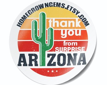 State of Arizona Thank You Stickers Cactus Southwest - Labels  - Thank You Stickers - Branding DS0110