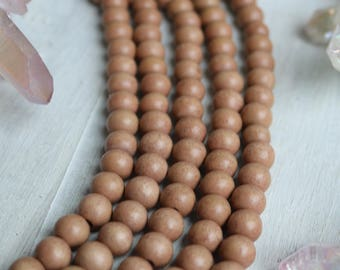 8mm beads, tan beads, beige beads, natural beads, boho beads, wood beads, wooden beads, bracelet beads, full strand,