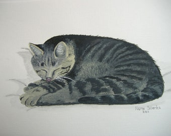 Cat art - Original acrylic painting - At Rest - 8 x 10 inches
