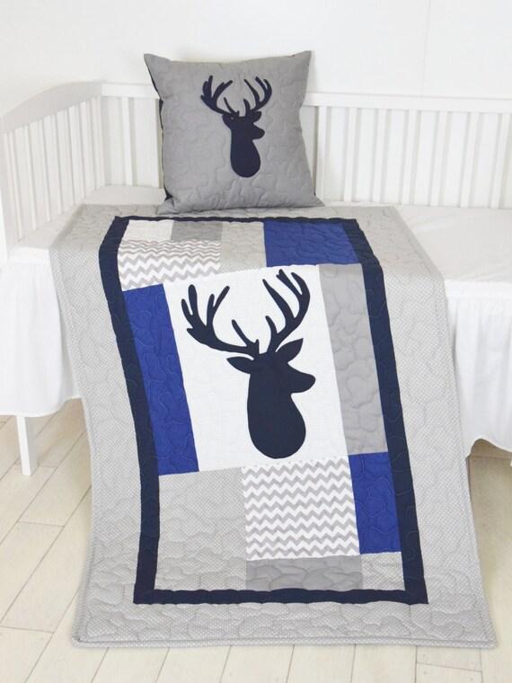Deer Blanket, Elk  Chevron Quilt, Hunting Nursery,  Boy Woodland Toddler Bedding, Tribal Animal Blanket