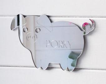 Cute Pig Engraved Acrylic Mirrored Bedroom Door Sign