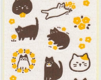 Cat Stickers - Washi Stickers - Flowers - Reference A5526
