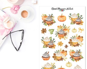 Pumpkin Latte Planner Stickers | Watercolour Stickers | Autumn Stickers | Fall Stickers | Pumpkin Stickers | Cupcake Stickers (S-327)
